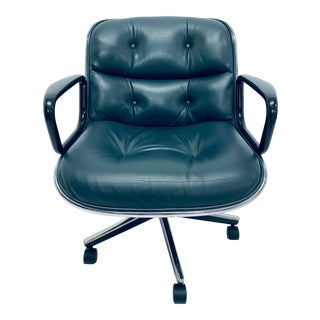 Charles Pollock Hunter Green Leather Desk Chair for Knoll For Sale