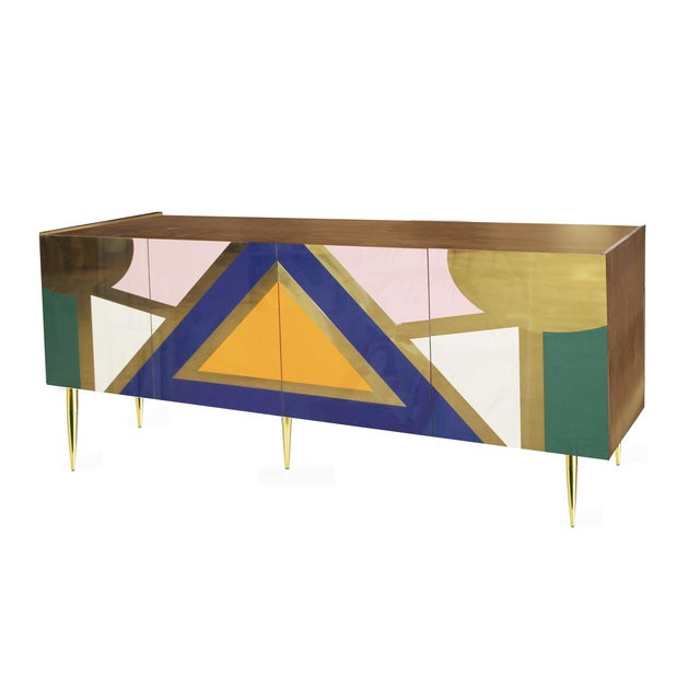Contemporary Handmade 'Yucatan' High Gloss Lacquered Wood and Brass Sideboard For Sale - Image 3 of 6