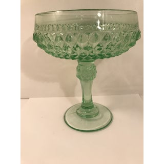 Vintage Anchor Hocking Glass Diamond Point Compote Bowl Preview