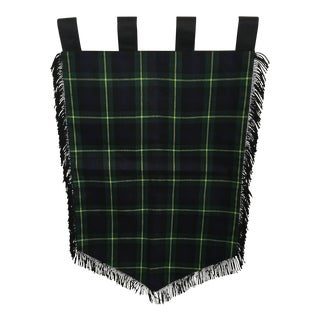 Medieval Style Fringed Navy Blue/Hunter Green/Yellow Plaid Banner For Sale