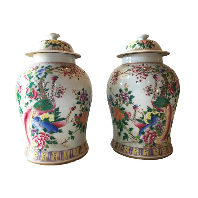 "Porcelain Famille Rose Ginger Jars W/ Phoenix - a Pair 16.5""h For Sale - Image 4 of 5"