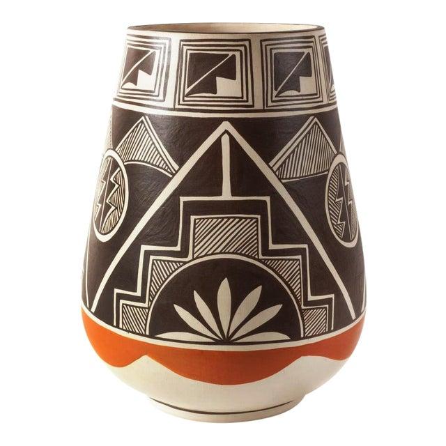 Vintage Stella Teller Southwestern Polychrome Mountain Design Painted Vase For Sale