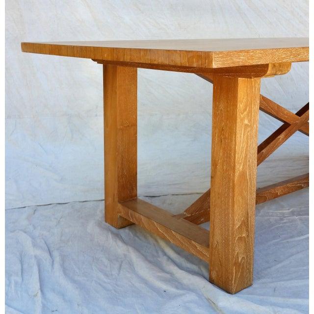 Tan Vintage Pickled Teak Trestle Table For Sale - Image 8 of 11