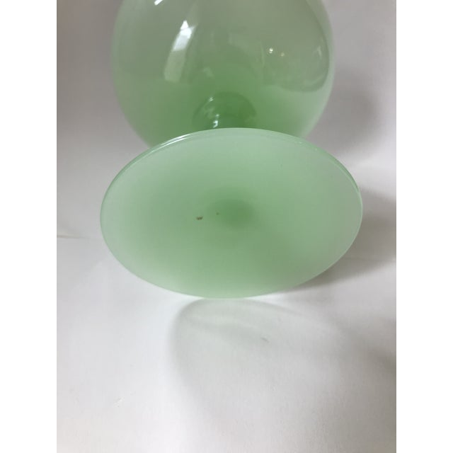 Antique Green Opaline Glass Goblet Sherbert Cup For Sale - Image 4 of 7