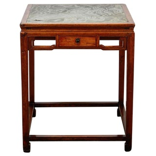 18th Century Chinese Four Drawer Cedar Square Table With Green Marble Top For Sale