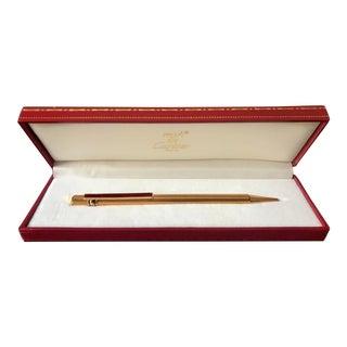 1980s Vintage Must De Cartier Paris Trinity Goldtone & Red Enamel Pen For Sale