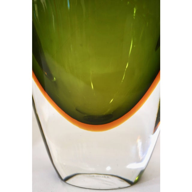 Green Formia Modern Italian Ovoid Yellow Green Orange Murano Glass Bottles - a Pair For Sale - Image 8 of 11