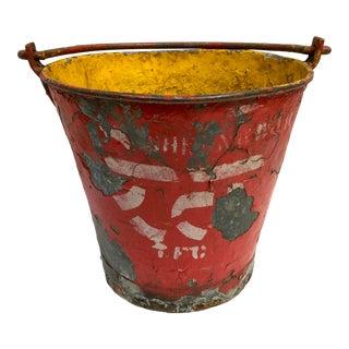 Vintage Painted Metal Fire Brigade Pail/Planter For Sale