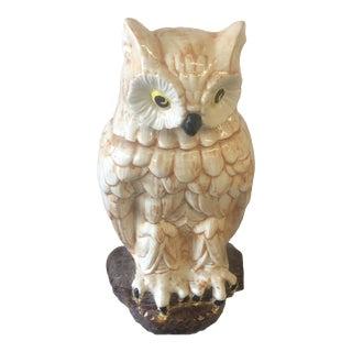 1970s Large Ceramic Owl Statue For Sale