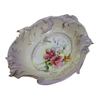 Antique German Floral Decorative Bowl For Sale