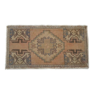 Distressed Low Pile Rug Turkish Yastik Hand Knotted Small Rug Faded Mat - 19'' X 35'' For Sale