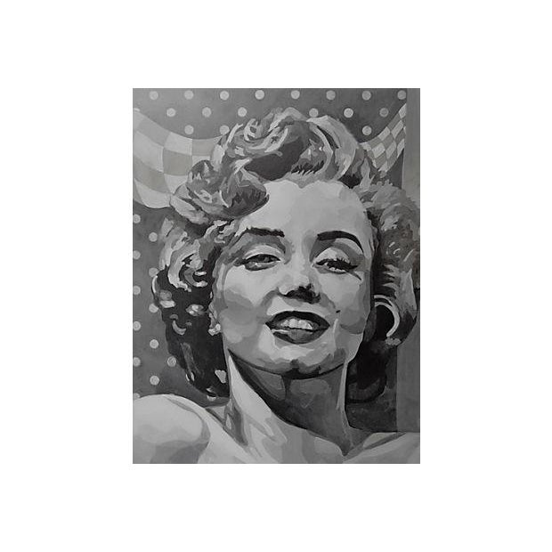 Large and dramatic acrylic portrait of Marilyn Monroe by California artist Marten Euchler (died 2012). The artist studied...