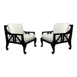 Mid-Century Modern Pair Style of Barbara Barry for Baker Black Lacquer Armchairs For Sale