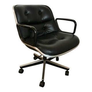 Pollock Leather Executive Chair Produced by Knoll Height Adjustable For Sale
