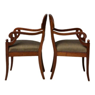 Late 19th Century Pair of Swedish Biedermeier Birch Wood Armchairs