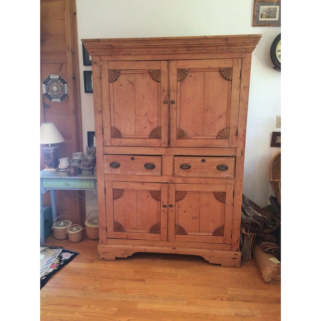 Charming Old Rustic Pine Linen Press Cabinet - Image 2 of 11