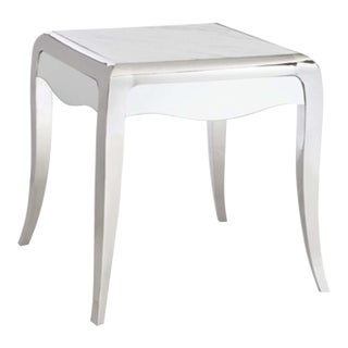 Caracole Modern Chrome and White Marble Avant Garde End Table For Sale