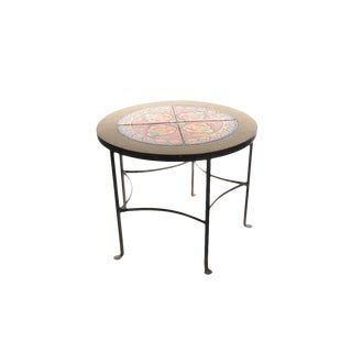 1920s California Tiles & Wrought Iron Round Coffee Table For Sale