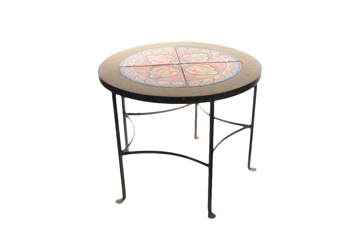 1920s California Tiles U0026 Wrought Iron Round Coffee Table For Sale