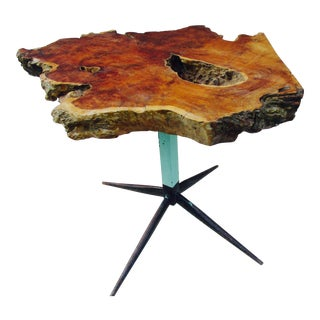Live Edge Walnut Slab Side Table