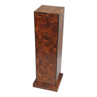 "38"" Antique Inlaid Burl Wood Patchwork Pedestal Stand Burlwood Square Column"