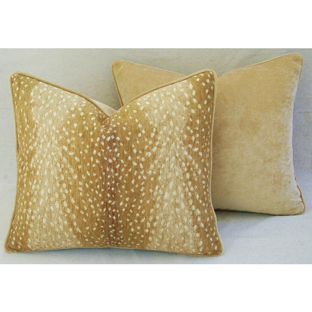 "Custom-Tailored Antelope Fawn Spot Velvet Feather/Down Pillows 21"" X 18"" - Pair For Sale In Los Angeles - Image 6 of 10"