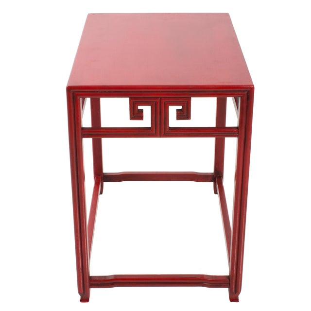 Baker Furniture Company Pair of Michael Taylor for Baker Far East Red Side Tables For Sale - Image 4 of 9