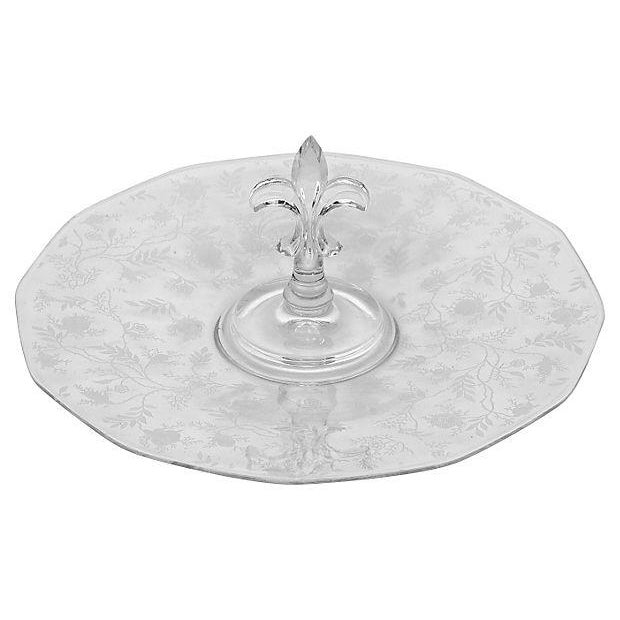1950's Glass Floral Etched Server For Sale