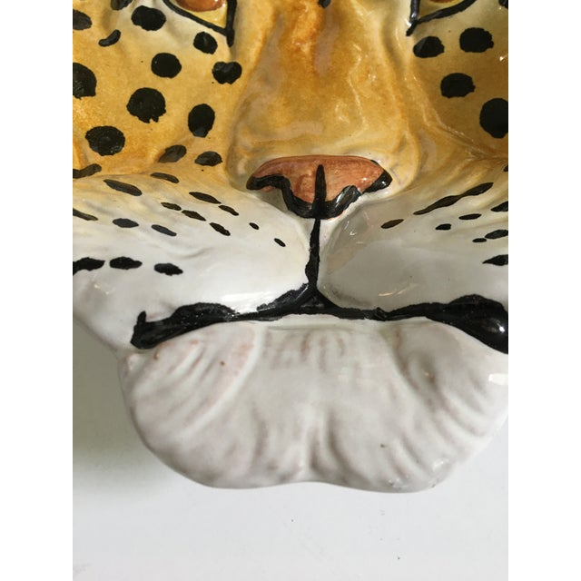 Italian Mid-Century Hollywood Regency Handcrafted Pottery Spotted Leopard Dish/Catchall For Sale - Image 9 of 13