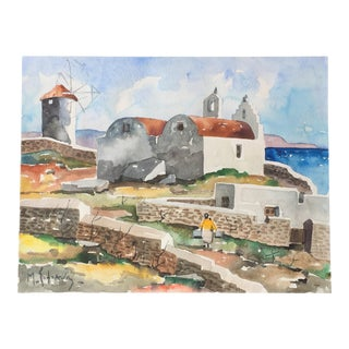 Expressionist Greek Watercolor Painting Listed Artist Sofianos For Sale
