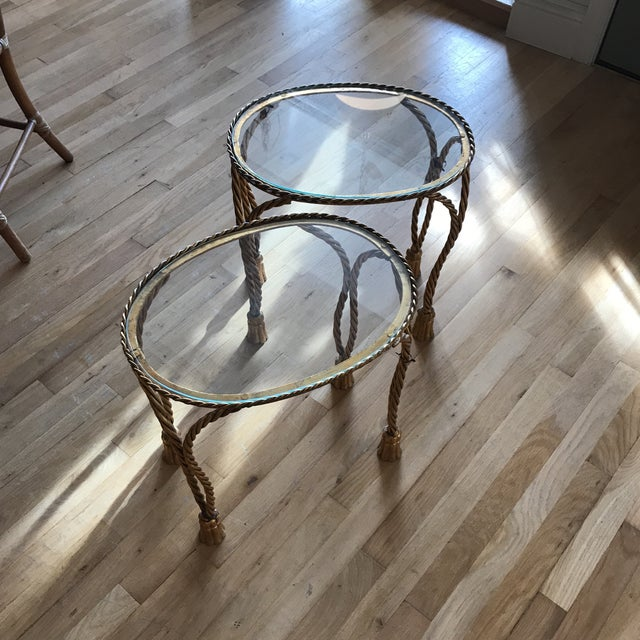 Oval Gilt Rope & Tassel Side Tables - A Pair - Image 6 of 8