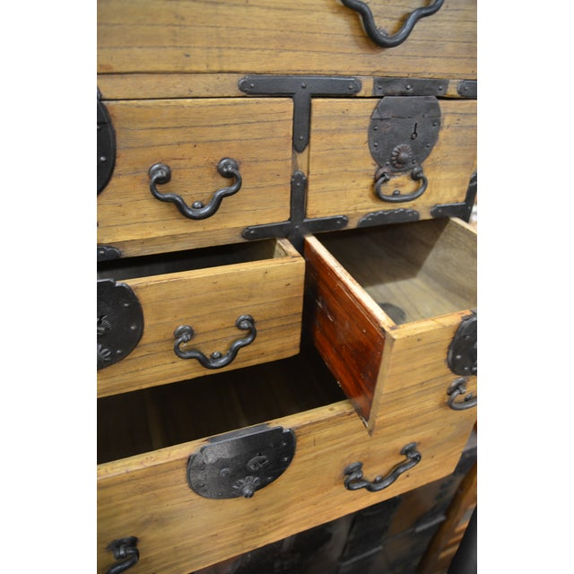 19th Century Japanese Tansu With Hand Forged Hardware For Sale - Image 10 of 11