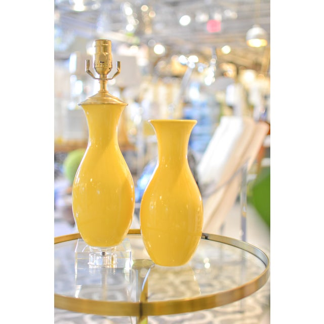 Yellow Glazed Vase Table Lamps - A Pair - Image 3 of 7
