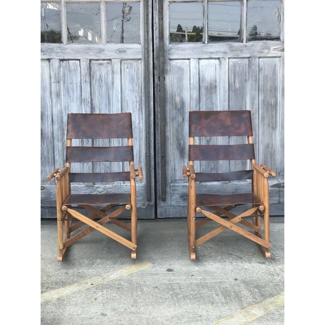 Brown Campaign Style Folding Leather Rockers - a Pair For Sale - Image 8 of 8