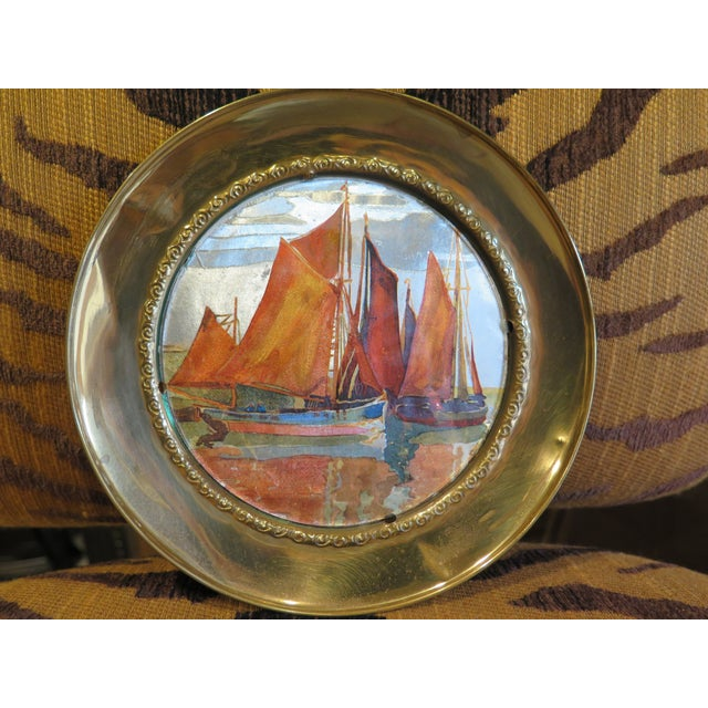 1930s 1930s Vintage Chinese Ship Decorative Brass Plate For Sale - Image 5 of 7