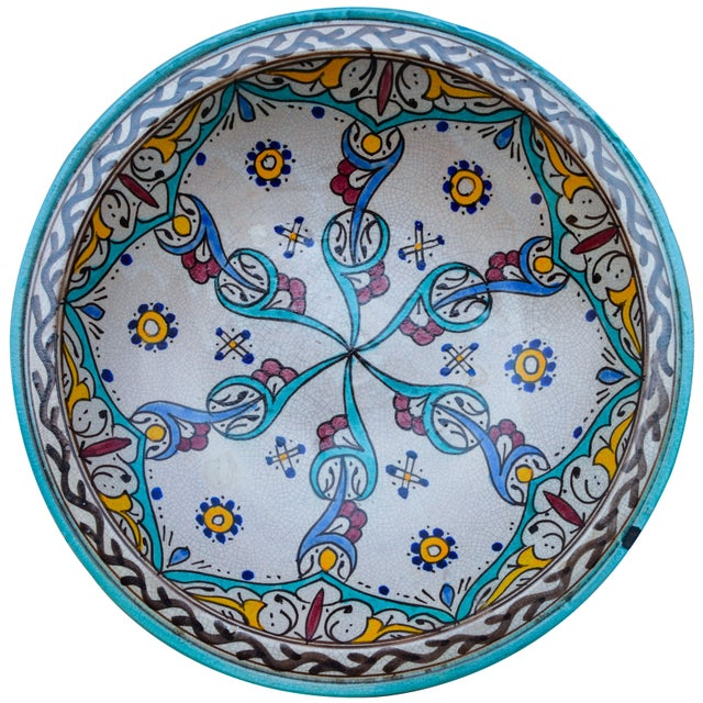 Moroccan Antique Ceramic Bowl W/ Andalusian Motif For Sale - Image 3 of 9