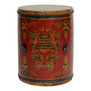 Distressed Chinese Tibetan Drum Shape Red Floral Coffee Side Table