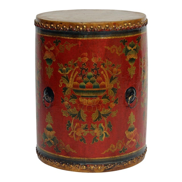 Chinese Drum Coffee Table: Distressed Chinese Tibetan Drum Shape Red Floral Coffee
