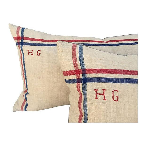 French Linen Embroidered Pillows - A Pair For Sale - Image 4 of 5