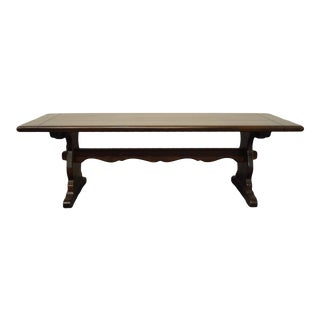 "Ethan Allen Antiqued Pine Old Tavern 54"" Trestle Coffee Table For Sale"