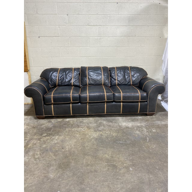 Super Michael Thomas Furniture Company onyx leather sofa with three loose seat cushions. Back cushions are attached....
