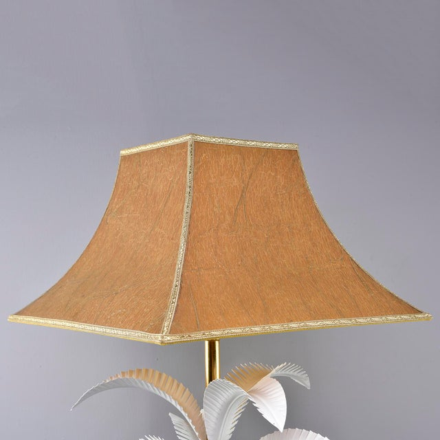Metal 1970s Hollywood Regency Brass Lamp With Parchment Shade For Sale - Image 7 of 11