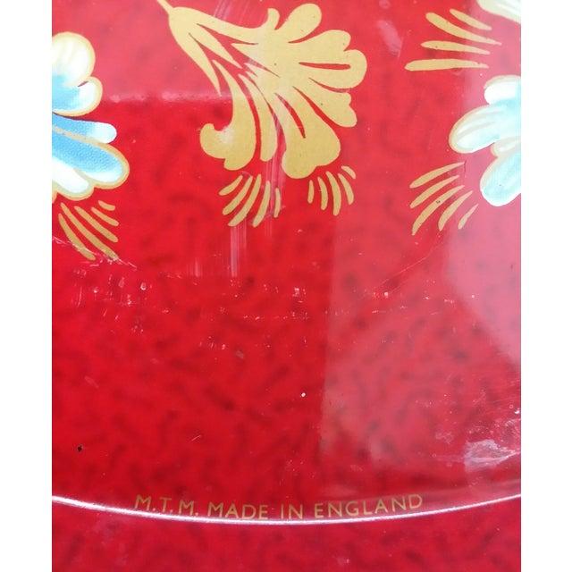 Vintage Red Metal Floral Tray - Image 6 of 9