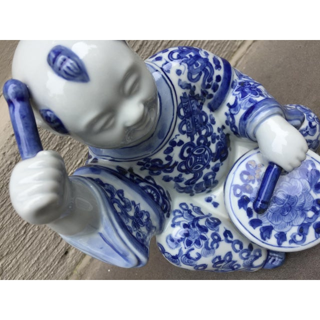 Mid 20th Century 1970's Chinoiserie Blue and White Porcelain Sculpture Baby Buddha With Drum For Sale - Image 5 of 9