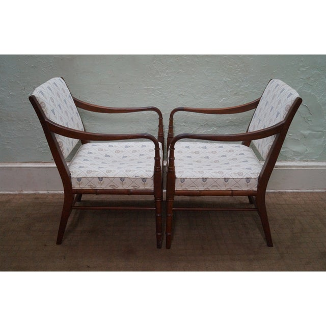 Solid Mahogany Faux Bamboo Arm Chairs - A Pair - Image 3 of 10