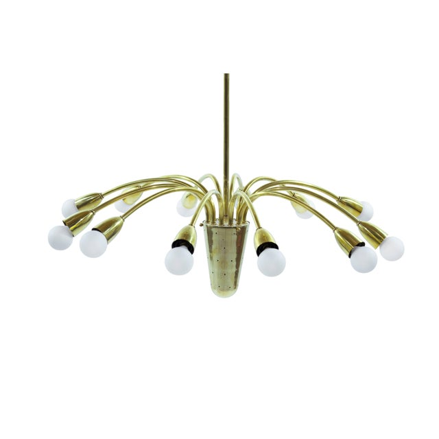 Sputnik light fixture, featuring 12 arms in brass. Newly rewired.
