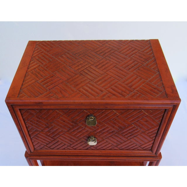 C.1970s Vintage Chinoiserie Orange Lacquered Nightstand, Side/End Reading Table by Thomasville For Sale - Image 9 of 13