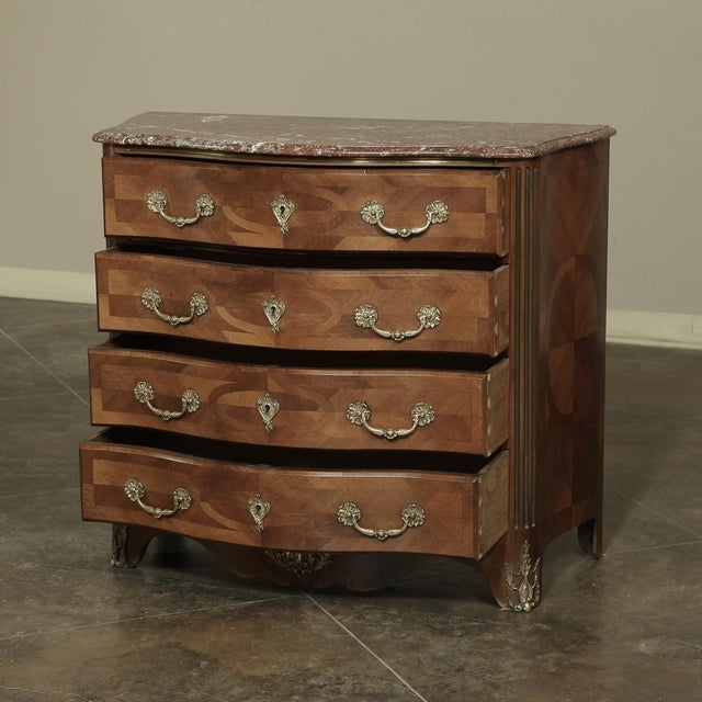 19th Century French Louis XIV Marble Top Commode With Marquetry For Sale - Image 4 of 11