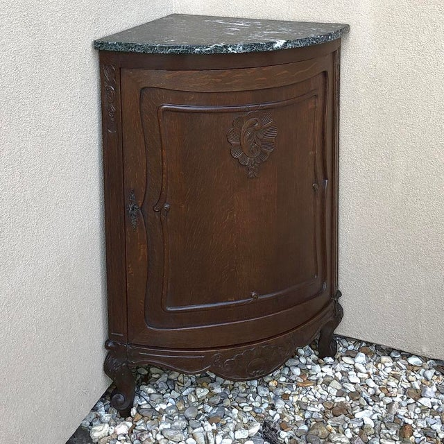 French Antique French Louis XV Marble Top Corner Cabinet ~ Confiturier For Sale - Image 3 of 11