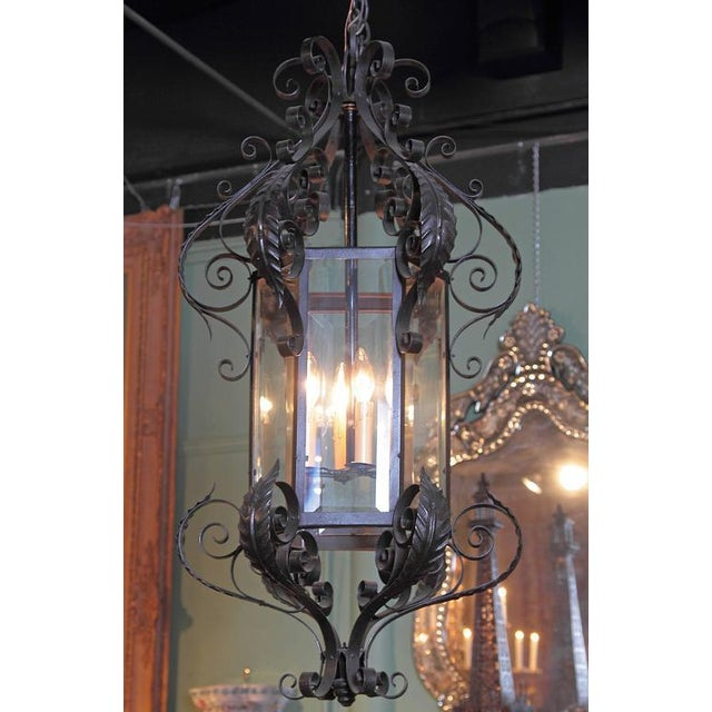Early 20th Century French Black Four-Light Iron Lantern With Beveled Glass For Sale - Image 9 of 10